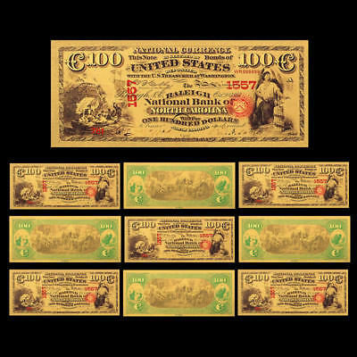 10pcs 1875 Year 24K Gold Foil US $100 Dollar New Arts Banknote Money Home Living