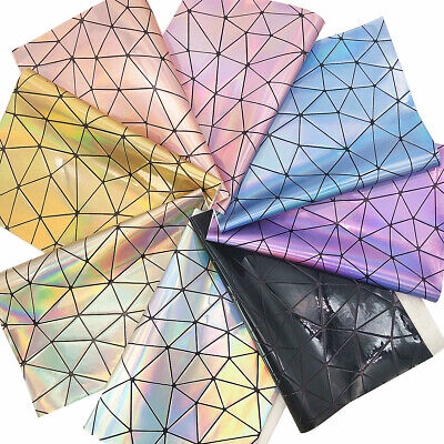 PU Hologram Geometric Iridescent Faux Leather Fabric New Bags Crafts Material