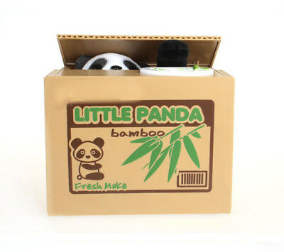 Cute Money Saving Stealing Coin Box Pot Bank Panda Piggy Storage Cash Kids Gift