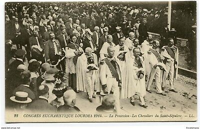 CPA-Carte postale-France - Lourdes - Congrès Eucharistique - Procession - 1914