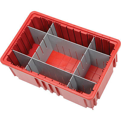 "Plastic Dividable Grid Container, 16-1/2""L x 10-7/8""W x 6""H, Red, Lot of 8"