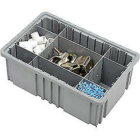 "Plastic Dividable Grid Container, 16-1/2""L x 10-7/8""W x 6""H, Gray, Lot of 8"