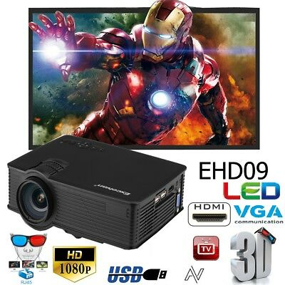 1080P HD 3000Lumens Mini LED LCD VIDEO PROJECTEUR HOME CINEMA 3D USB/AV/HDMI/VGA