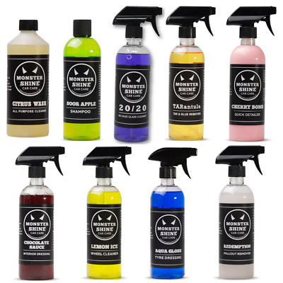 Professional Valeting Car Cleaning Kit 9 500ML Bottles Monstershine Car Care