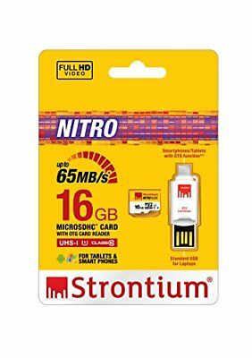 16GB MicroSD 65MB/s Strontium Nitro UHS-1 With OTG Card