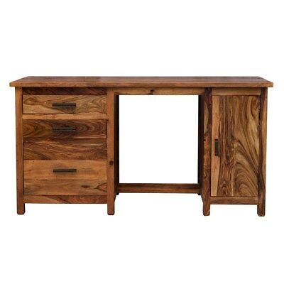 Sheesham Dark Solid Hard Wood Contemporary Office Desk with Drawers