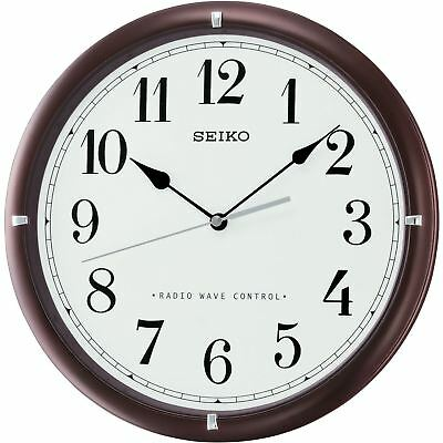 "Seiko QXR303B Brown Analogue Radio Wave Controlled Time 12"" Wooden Wall Clock"