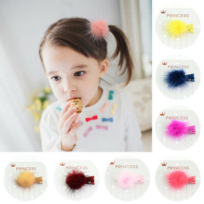 12 Pcs Baby Girls Kids Korean Fur Ball Pompom Hair Clip Pin Headwear Hairpins