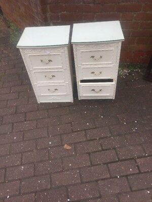 Pair of vintage antique Shabby chic Louis Style Cream Bedside Cabinets /drawers