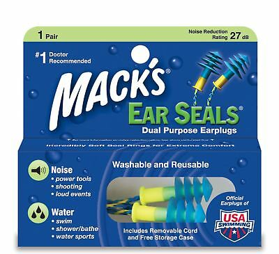 Macks Soft Flanged EarSeals Silicone Earplugs Corded Ear Plugs & Travel Case