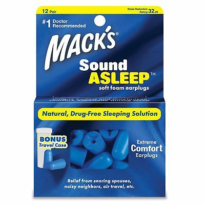 Macks SoundAsleep Ear plugs Soft Foam Comfort Earplugs Noise Blocker 12 Pairs