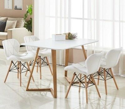Cecilia Dallas Eiffel Dining Set - 4 x Leather Chairs & White Dining Table NEW