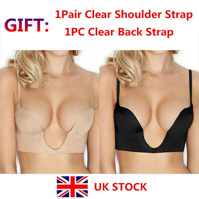 U-Plunge Bra Nude Deep Low Front 38A Cleavage Convertible Padded Push Up Second