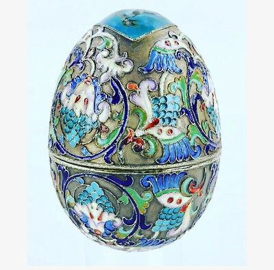 Stunning Antique Russian Silver 84 gilded Enamel Decorative Egg