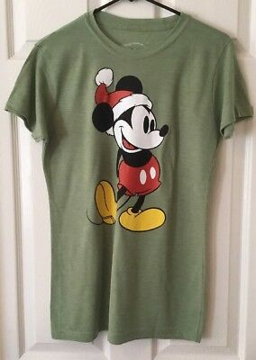 5c04975b New Women's Disney Mickey Mouse Heather Green Christmas Crew Neck T-Shirt XL