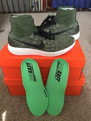 brand new 81afe 073cc Nike Lunarepic Flyknit Rough Green Running Shoes 818676-303 Mens Size 10