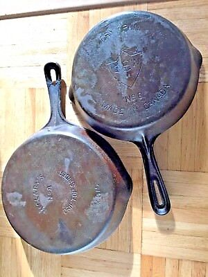 Antique  Mc Clary 1800's Cast Iron Spider Skillet /  10 & 8 Inch