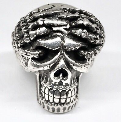 Men's Skull Skelital Hands Breaking Through Skull Ring In .925 Sterling Silver