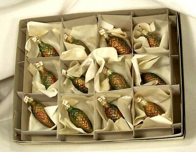 Box of 12 Rainbow Glitter Pine Cones Blown Glass Christmas Tree Ornaments Poland