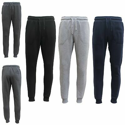 Mens Unisex Skinny Fleece Lined Sweat Track Pants Suit Casual Trackies Slim Cuff