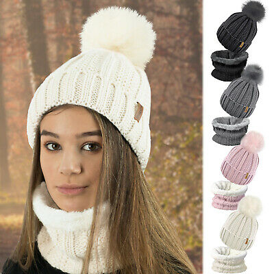 Ladies Womens Winter Beanie Bobble Hat Warm Fleece Liner Large Faux Fur Pom Pom