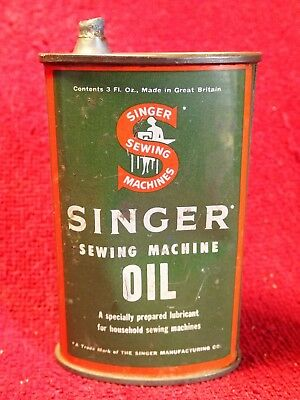 Antique Singer Sewing Machine Oiler Oil Lubricant Tin Can Great Britain