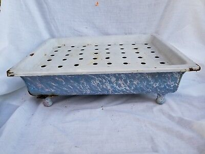 Antique End Of Day Enamel French Plant Pot Holder Rare Vintage kitchenalia