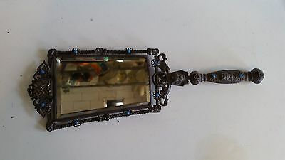 Antique Art Deco Egyptian Revival Filigree Inlaid Hand Mirror Victorian Egypt