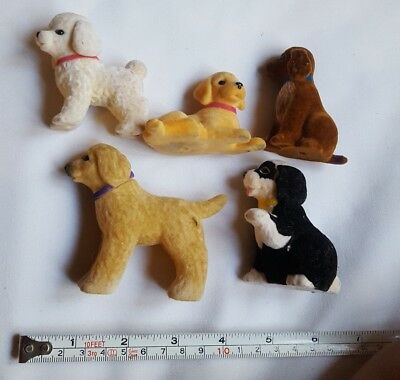Lot of 5 CUTE PUPPY DOGS FELT FIGURINES SET - FIGURES COLLECTIBLES pre-owned vtg