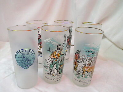 Vintage 1959 Colorado Centennial Rush to the Rockies set 5 Ice Tea Water Glasses