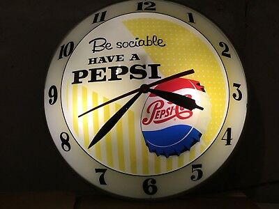 FABULOUS Antique Be Sociable Have A Pepsi Cola Double Bubble Vintage Clock Light