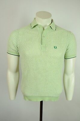 c2a0353b7 Vtg 60s Fred Perry waffle knit polo shirt S GREEN made in Britain mod  skinhead