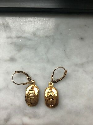 14k Gold Scarab Egyptian Earrings Antique!Must see!!!
