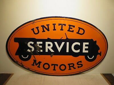 "29x48"" original 1930 antique United Motor Service  Walker & Co. Porcelain Sign"