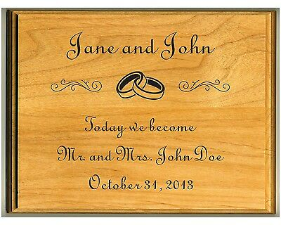 Laser Engraved Alder Wood Plaque Personalized Marriage / Wedding / Anniversary