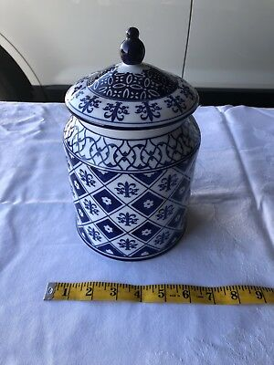 Pier One Two Piece Hand Painted Porcelain Container Cobalt Blue And White