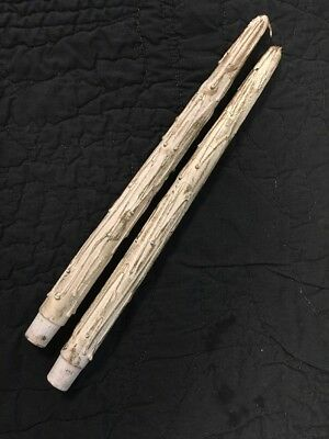 Pair Vintage Faux Wood Taper Candles White and Gold 12 ""