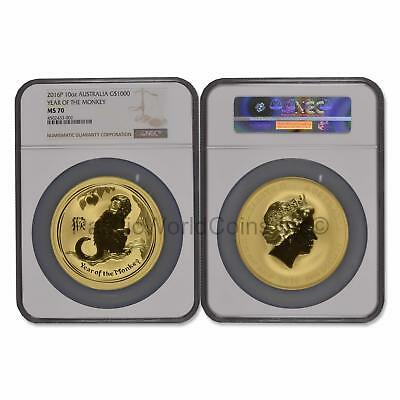 Australia 2016 Year of the Monkey $1000 10 oz Gold NGC MS70  SKU#6548