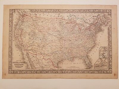 """Antike Karte """"United States and Territories together with Canada"""" - Antique map"""