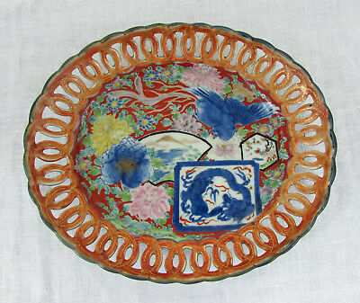 Japanese Imari oval platter 11 x 9 - Reticulated - hand painted - signed