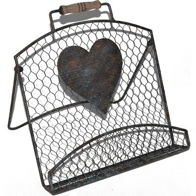French Country Vintage Kitchen Chicken Wire Heart Recipe Book Holder Wrought ...