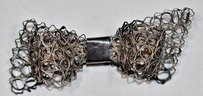 Beautiful Antique Mexico Vintage Sterling Silver 925 Filigree RIBBON Pin Brooch