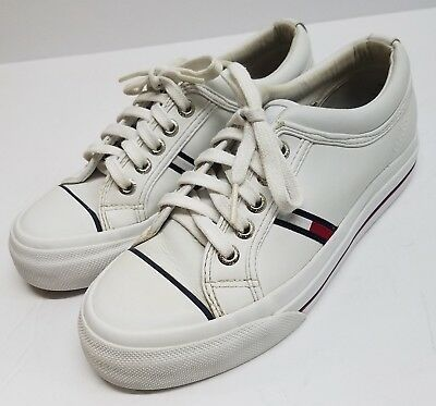 8b20ea971 Tommy Hilfiger Women s Leather Shoes Sneakers Vintage White Flag Size 6 M  Lace