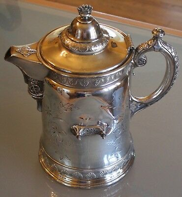 "Wilcox Silverplate Monogramed ""Green"" Ice Water Pitcher/Tankard w/Angel Spout"