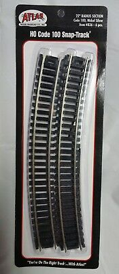 """Atlas #836 22"""" Radius Curved Track - 6 Sections HO Code 100 Nickel Silver Rails"""