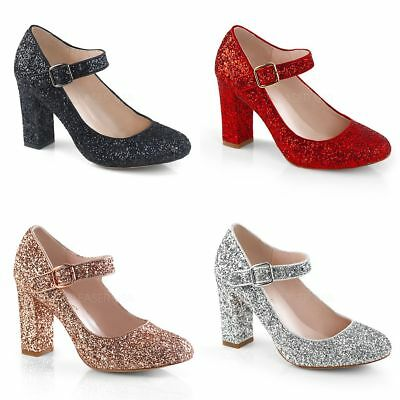 """FABULICIOUS Sabrina-07 Red Rose Gold Silver Black Glitter Mary Janes 4"""" Heels"""