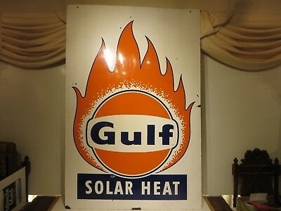 "38x57"" original 1960 antique Gulf Solar Heat Porcelain Sign Oil Gas Advertising"