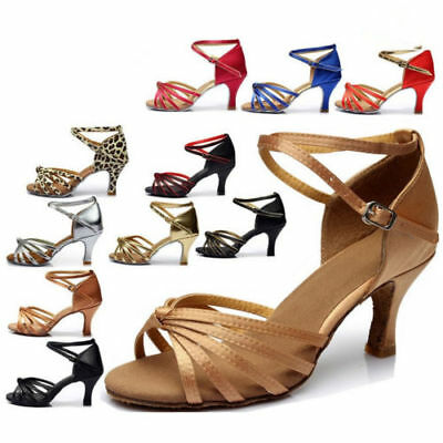 US Women Tango Heeled Shoes Satin Salsa Latin Ballroom Prom Waltz Dance Shoes