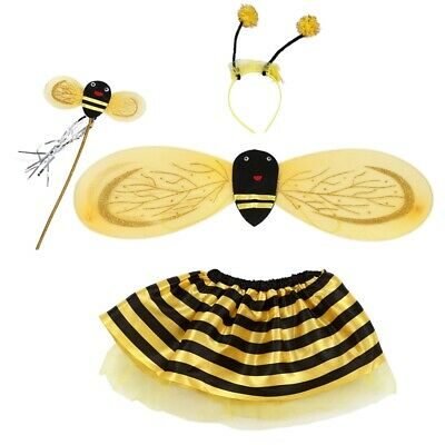 4Pc Bumble Bee Honey Girls Kids Fairy Halloween Fancy Dress Up Party Costum A7B9