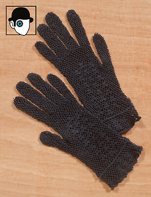 VINTAGE 30s/40s HAND CRAFTED COTTON CORD LACE GLOVES - SIZE 6 1/2 - SMALL - (Q)